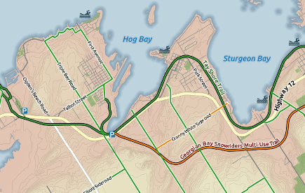 Example of cycling map created by GIS showing map cartography